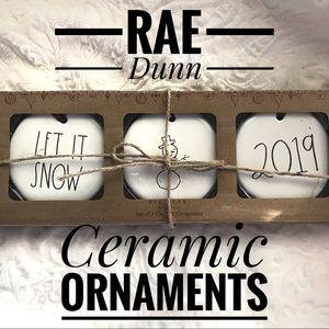 Rae Dunn Ceramic Ornament Trio